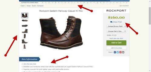 Pagina de producto de e-commerce rico en información